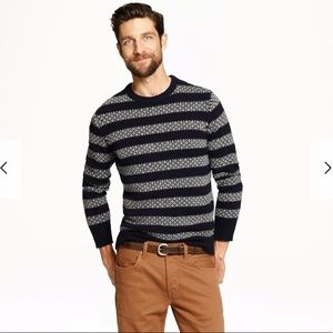 J.Crew Men's Lambswool Sweater In Stripe Medium